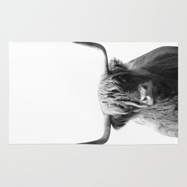 Highland cow | Black and White Photo Rug