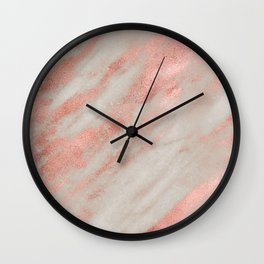 Marble Rose Gold White Marble Foil Shimmer Wall Clock