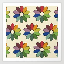 Flower pattern based on James Ward's Chromatic Circle Art Print