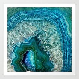 Aqua turquoise agate mineral gem stone Kunstdrucke