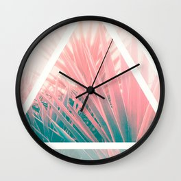 Pastel Palms into Triangle Wall Clock