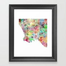 Los Angeles map california Framed Art Print