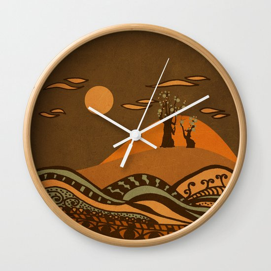 psychedelic mountains Wall Clock