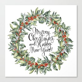 Merry Christmas and Happy New Year! Watercolor Canvas Print