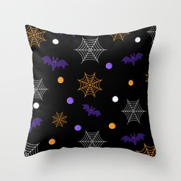 Halloween Webs and Bats Throw Pillow