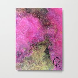 "Abstract Original Painting ""Magenta Ocean"", Contemporary Artist Abstract Artwork, Mixed Media Metal Print"