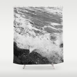 SEA on Black and White Shower Curtain