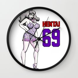 Daphne Hentai 69, sexy purple lingerie, cartoon style girl in heels, red letters, adult shirt design Wall Clock
