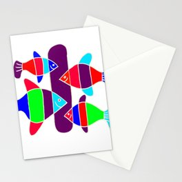 4 Fish - White lines Stationery Cards