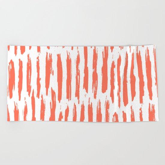Vertical Dash Deep Coral on White Beach Towel