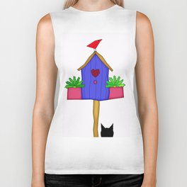Funky Red Bird Biker Tank