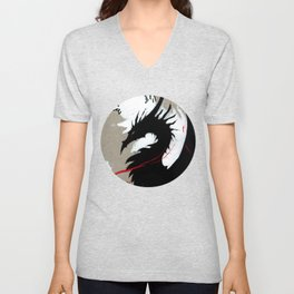 BLACK DRAGON RIBBONS Unisex V-Neck