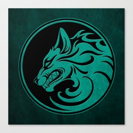 Teal Blue Growling Wolf Disc Canvas Print