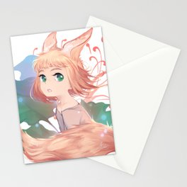 Orange hair cute anime girl with fox ears and tail Stationery Cards