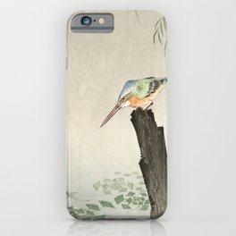 Kingfisher Hunting - Japanese Vintage Woodblock Print Art iPhone Case