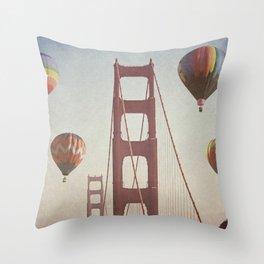 Golden Gate Balloons Throw Pillow