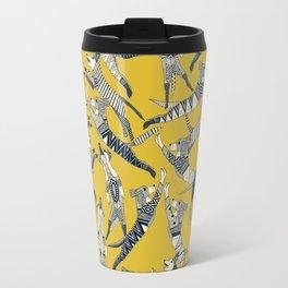 dog party indigo yellow Travel Mug