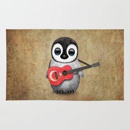 Baby Penguin Playing Turkish Flag Guitar Rug