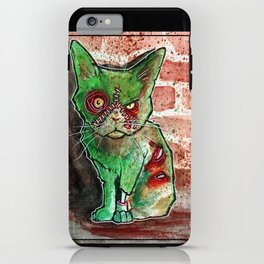 Mean Green Cute Zombie Cat iPhone Case