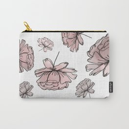 Hand Drawn Peonies Dusty Rose Carry-All Pouch