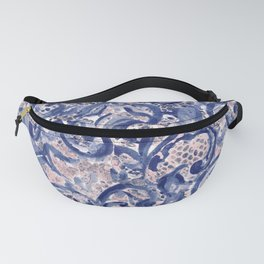 Vinage Lace Watercolor Blue Blush Fanny Pack