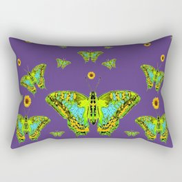 YELLOW SUNFLOWERS, GREEN MOTHS ON PURPLE Rectangular Pillow