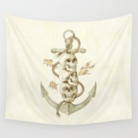 pirates Wall Tapestries featuring Three Missing Pirates by Mike Koubou