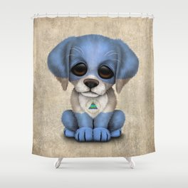 Cute Puppy Dog with flag of Nicaragua Shower Curtain