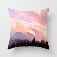 ashton irwin Throw Pillows featuring Rose Quartz Turbulence by Alaskan Momma Bear