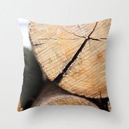 Wood Pile Throw Pillow
