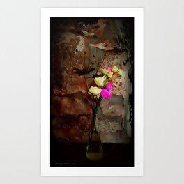 Sheila, Flowers and Stone Art Print
