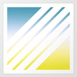 Gradient White Stripes Art Print