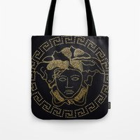 versace Tote Bags featuring Versace Gold by InteriorEpiphanies
