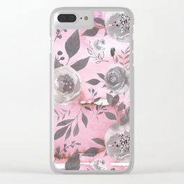 berry juice floral watercolor pink gray Clear iPhone Case