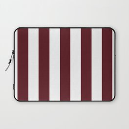 Chocolate cosmos purple - solid color - white vertical lines pattern Laptop Sleeve