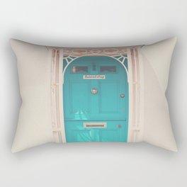 mint green door in a pink building  Rectangular Pillow