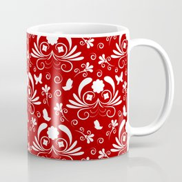 Abstract floral red, white Coffee Mug