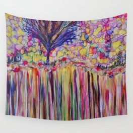 tree on edge of rainbow cliff Wall Tapestry