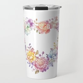 Watercolor Flower Wreath Travel Mug