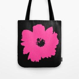 Pink Peony (Black) Tote Bag