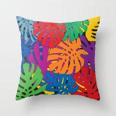 Monstera leaves in Pop Art Throw Pillow