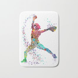 Baseball Softball Pitcher Watercolor Print Art Print Girl's Softball Painting Bath Mat