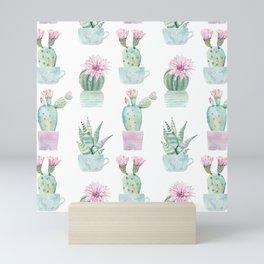 Simply Echeveria Cactus in Pastel Cactus Green and Pink Mini Art Print