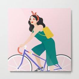Racing bike girl Metal Print