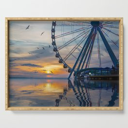 Great Wheel at Sunset with Birds Serving Tray