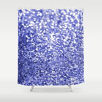 sparkles Shower Curtains featuring Blue Sparkles by Hannah