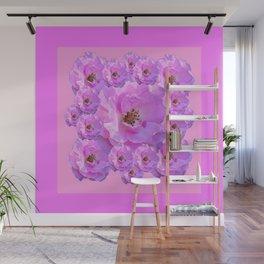 Fuchsia Purple Pink Wild Roses Pattern Art Wall Mural