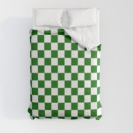Small Checkered - White and Dark Green Comforters