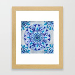 Simpe Blue Mandala Framed Art Print