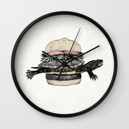 Turtle Sandwich   Desaturated Wall Clock